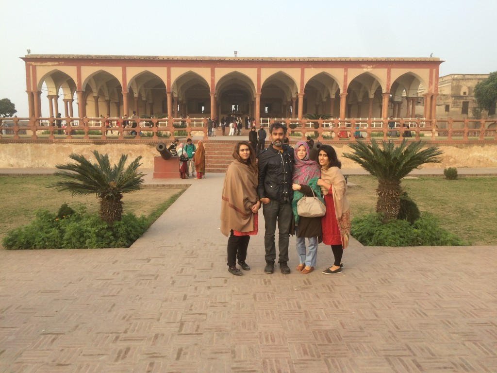 Me and family in front of the Diwan-i Aam section